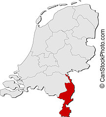 Map of Netherlands, Limburg highlighted - Political map of...