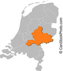 Map of Netherlands, Gelderland highlighted - Political map...