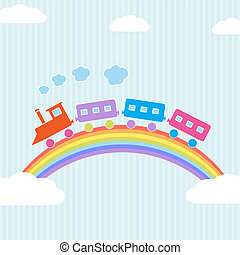 Colorful train on rainbow Vector illustration