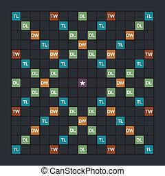 Word game board - Popular word game board, flat overhead...
