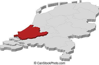 Map of Netherlands, South Holland highlighted - Political...