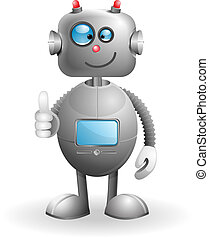 Cartoon Robot - Cute cartoon Robot isolated on a white...