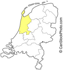 Map of Netherlands, North Holland highlighted