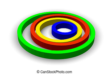 Vector colorful rings isolated on white. Eps10