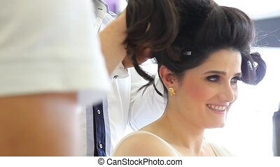 bride 2 - the brides hair is getting ready