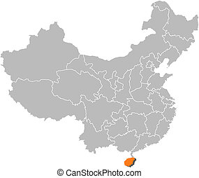Map of China, Hainan highlighted - Political map of China...