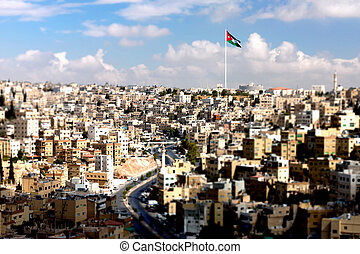 Panoramic view of the city of Amman, Jordan - tilt-shift...