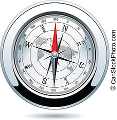 vector shiny silver compass - vector illustration of shiny...