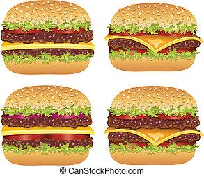 vector set of hamburgers and cheeseburgers