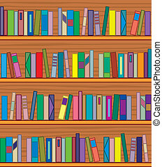 vector wooden bookshelf with books - vector clipart of...