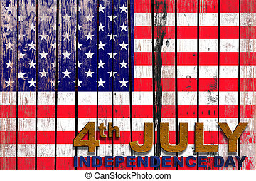 Independence day USA flag background on old wood