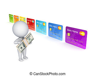 3d small person and colorful credit cardIsolated on white...
