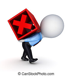 3d small person and red cross mark.Isolated on white...