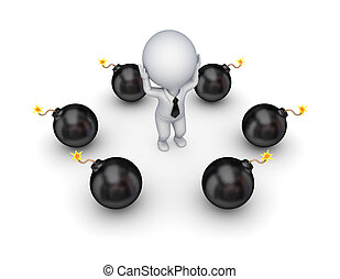 Black bombs around stressed 3d small person.Isolated on...