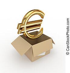 Golden euro sign in a carton box.