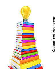 Yellow lamp on a big stack of colorful books.
