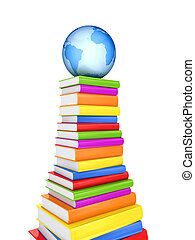 Blue globe on a large pack of books.