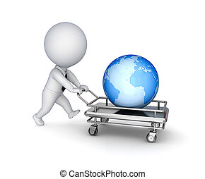 3d small person, shopping trolley and big globe.