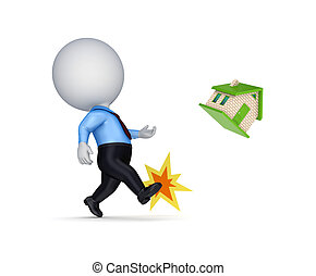 3d person kicking a small house.Isolated on white...