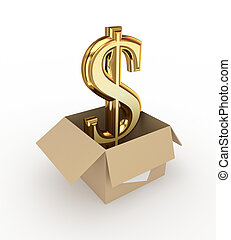 Golden dollar sign in a carton box.