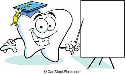 Tooth wit a Sign - Cartoon illustration of a tooth with a...