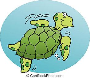 Sea Turtle - Cartoon illustration of a sea turtle