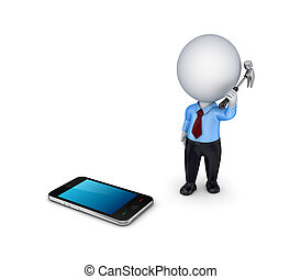3d person with a hammer and mobile phone - 3d small person...