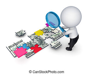 3d person with a loupe and dollar made of puzzles - 3d small...