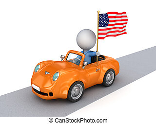 3d small person on orange car with American flag.
