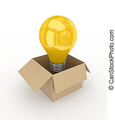 Idea symbol in a carton box.