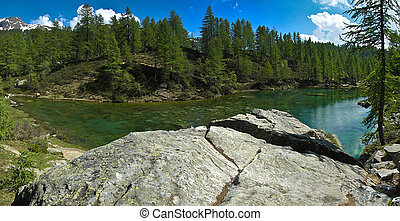 Lake of the witches blue lake Devero Alp - panoramic view...
