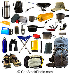 Camping Gear - Camping gear collage isolated on white...