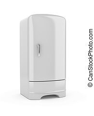 Refrigerator - 3d render of white erfrigerator, isolated on...