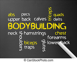 Bodybuilding - Dark chalkboard with a Bodybuilding word...