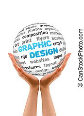 Graphic Design - Hands holding a Graphic Design Word Sphere...