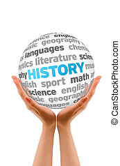 History - Hands holding a History words Sphere sign on white...