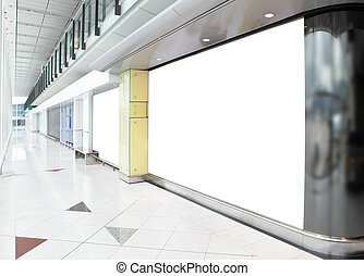blank billboard in shopping mall, empty copy space in the...