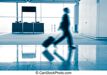 passenger in the airport - rush moving passenger in the...