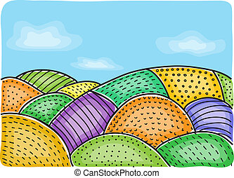 Illustration of agricultural fields - multicolored drawing,...