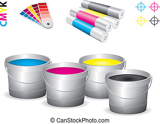 Vector print shop icon set - cmyk