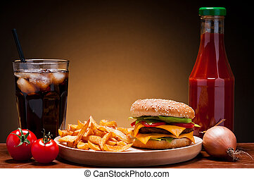 hamburger menu - fast food hamburger menu with burger,...