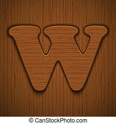 "Letter ""W"". Wooden alphabet. Vector illustration."