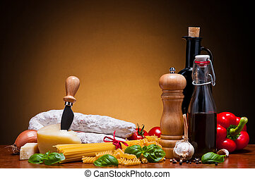 italian food ingredients - still life with italian food...