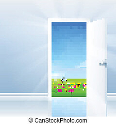 Open Door To Nature - Open door concept. Door opens to a...
