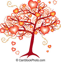 love tree with red hearts for valentine day