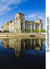 reichstag berlin - reichstag in berlin with reflection in...
