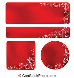 red frame with white ornament - set of four red labels with...