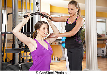 smiling young woman exercising