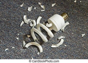 Broken Compact Fluorescent Bulb