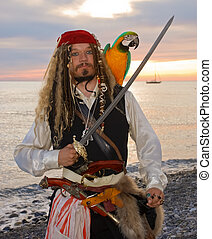 pirate  - The pirate with a parrot on the seashore